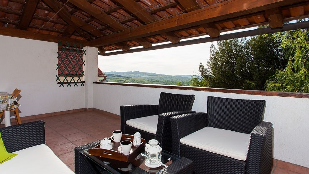 Covered terrace with views